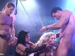 Two hot and nasty pornstars fucking in a bdsm setting