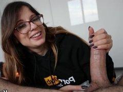 Pornhub model sucks a big dick until it comes as a fountain