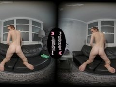 Solo model with red hair, Eva is masturbating, in VR