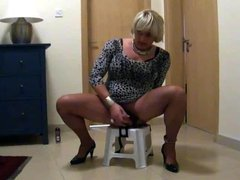 Tranny Sheer riding the fuck stool