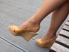 wifes pantyhosed feet in pumps shoeplay