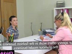 Amateur casting beauty in lesbian audition