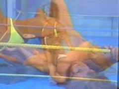 Blonde vs Redhead Topless Wrestling