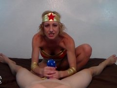Cosplay Panty Handjob with Brittany Lynn as Wonder Woman