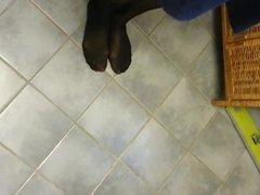 Coworkers Amazing Candid Black Nylon Pantyhose Feet Legs