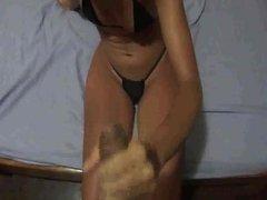 Wife taking cum bath