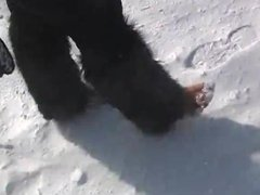 remove shoes and barefoot in the snow