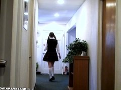 Schoolgirl strapped by the Dean