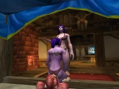 Female night elf smothers small girl with her ass