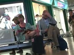 Candid Nerdy Woman Feet Soles Wiggling Toes at Airport