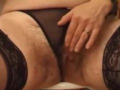 Hairy french mature gets pussy and ass fucked