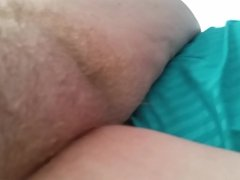 leg hanging out of bed reveal her soft hairy mound