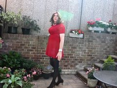 Alison in her red dress and pantyhose - more spunk