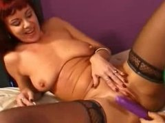 Midget babe and redhead mature with tongue and toys