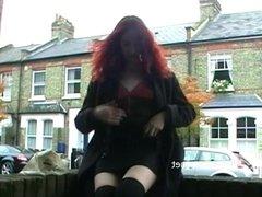 Redhead flasher Monicas public masturbation and milf babes