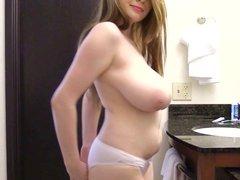 Amanda Love shows off her sports bra