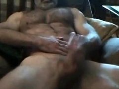 Str8 daddy uses little dildo for a pussy