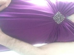 Jerking off in my wife's dress