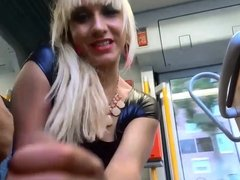 Babe Handjob #5 On the Bus in Public!