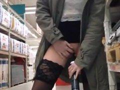 Blonde Walks Around Hardware Store And Inserts Items