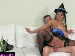Casting euro in uniform riding on cock