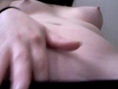 Shy girl, small tits, makes her pussy squirt 2