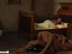 One mistress and 2 lesbian beauties playing in a castle room