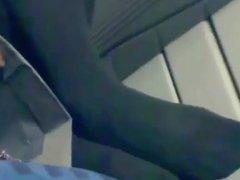 Candid Feet & Legs in Dark Tights on Train Nylons