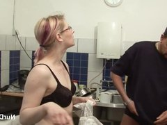 German Mother in Lingerie seduce to fuck at work by Employer