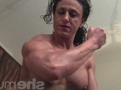 Naked Female Bodybuilder Posing and Flexing