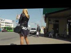 Upskirt Voyeur On Black Skirt Girl