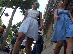 Upskirt - Blond girl in white dress