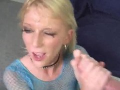 Blonde gets covered in cum