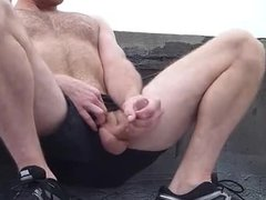 Str8 guy jerking out on the roof