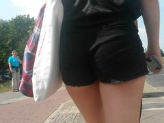 Amazing blonde teen in hot pants