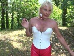 sexy slut in leather legging outside