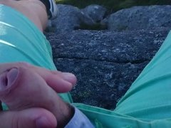 public jerking high above a fjord with windy cumshot