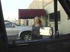 Girlfriend giving me a blowjob in my car on break