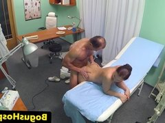 Voyeur hospital threesome featuring hot nurse