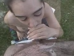 Outdoor blowjob by dirt road