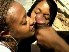 Two beautiful, slutty black women suck off a BBC