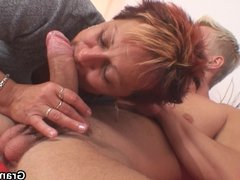 He fucks her shaved old pussy