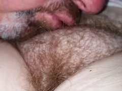 kissing her soft hairy pussy pubes