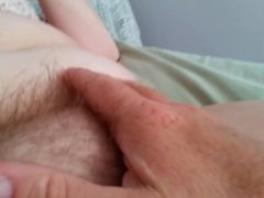 rubbing her soft hairy pussy, big soft belly, big tit