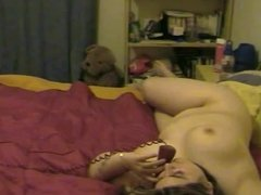 Horny Chubby Teen GF having phone sex with her BF