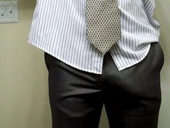 Visible Penis Line Getting Ready For Work