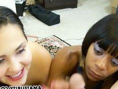 Amateur girlfriends in a double blowjob action