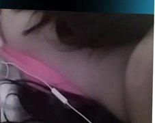 Girl plays in Skype