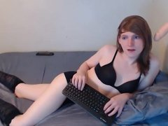 Ginger Tranny Fucks her Throat with a Dildo