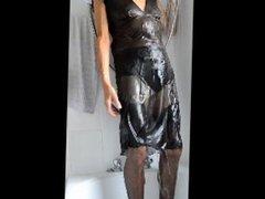 black 'see-through' dress shower.